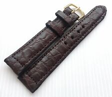 19 mm Genuine Real Crocodile Alligator Skin Leather Brown Watch Strap Grade A 15