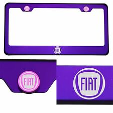 Candy Purple License Plate Frame T304 Stainless Steel Laser Engraved Fiat Logo