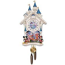 Disney 40 Character Cinderella Castle Cuckoo Wall Clock Happiest of Times NEW