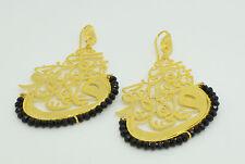Ottoman semi precious gem stone gold plated earrings onyx islamic calligraphy