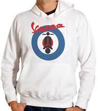 Felpa con cappuccio Vespa, stampa personalizzata con logo rock mod e scooter