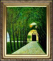 Framed, Klimt Avenue of Schloss Kammer Repro, Hand Painted Oil Painting  20x24in