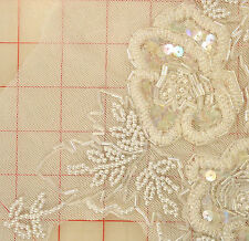 2 extra beautiful beaded & sequins appliques 3 roses & leaves white clear AB 16""