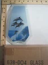 FREE US SHIP OK Touch Lamp Replacement Glass Panel Dolphins Jumping 638-DO4
