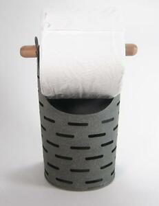 Olive Metal Bucket Toilet Paper Holder Rustic Country Style Bathroom Storage
