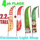 4 Christmas Yard Flags Outdoor Garden RED GREEN Santa Merry Xmas Printed Signs
