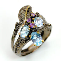 Popular Design Jewelry Natural Blue Topaz 925 Sterling Silver Ring/ RVS300