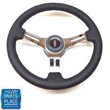 1969-88 Olds Black Leather & Chrome Steering Wheel & Rocket Center Cap