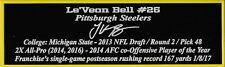 Le'Veon Bell Nameplate Pittsburgh Steelers Autograph Helmet Football Jersey