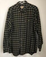Woolrich Mens L Flannel Shirt Green Plaid Button Down Long Sleeve