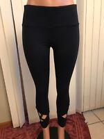Womens Navy Blue Active Life Criss Cross Lattice Leg Legging small NWOT