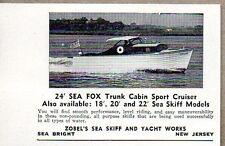 1950 Print Ad Zobel's Sea Fox 24' Trunk Cabin Sport Cruiser Boats Sea Bright,NJ