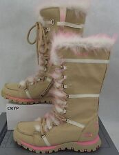 New Womens 4 Skechers Tan Suede Leather Winter Boots $80 68804LJ