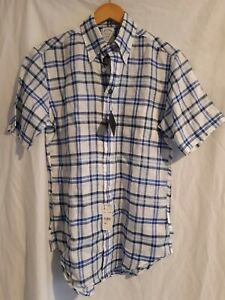New brooks brothers white/blue check 100% linen short sleeve shirt size small