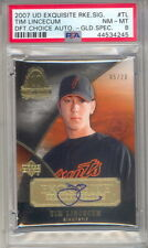 2007 EXQUISITE DRAFT CHOICE TIM LINCECUM ROOKIE SIGNATURE CARD PSA 8 5/20 (498B)