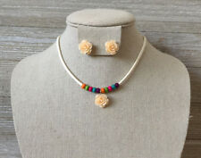 Kids Girls Ivory Flower, Multi Color Beads, Cream Cord Necklace & Earrings Set