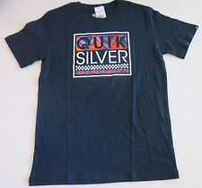 Quiksilver Big Boys XL Short Sleeve Tee T-Shirt Navy Blue Blockoff 100% Cotton