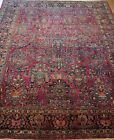 ANTIQUE SAROUKK FLORAL HAND KNOTTED WOOL RED ORIENTAL RUG CLEANED   9' x 12'
