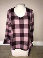 Time & Tru Purple Maroon Mauve Pink Plaid Flannel Long Sleeve Blouse Size 3X