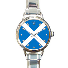 Women's Scotland World Cup 2018 Flag Italian Charm Watch Bracelet Analog Quartz