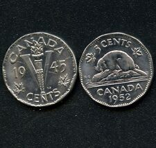 1945 & 1952 Canada 5 Cent Coins