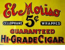 """TIN SIGN """"El Moriso Cigars"""" Nicotine Deco Garage Wall Decor"""