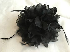 Hydrangea Flower Corsage Feather Fascinator Hair Clips Pin Hair Band 3 in 1