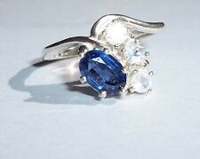 Gorgeous Blue Kyanite 7x5mm/Moonstone Accents USA Made Sterling Ring sz 7.25