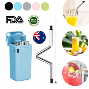 Collapsible Silicone Reusable Stainless Steel Drinking Straws Cleaning Brush