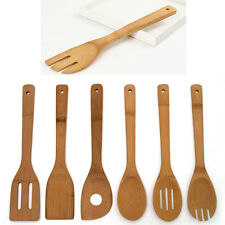 6 Pieces Bamboo Spoon Spatula Mixing Set Kitchen Utensil Wooden Cooking Tool
