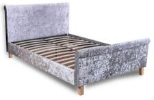 Shelby Sleigh Double Bed in Grey Crushed Velvet Fabric Luxury Modern Bedroom NEW