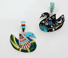 HANDMADE CELESTIAL / SWAN PENDANT IN TURQUOISE/MULTICOLOR INLAY .925 SILVER