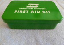RAILROAD- BURLINGTON NORTHERN METAL FIRST AID KIT WITH SUPPLIES