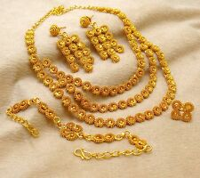 Indian Gold Plated Wedding 4pcs Necklace Earring Set Traditional Women Jewelry
