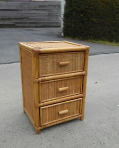VINTAGE MID CENTURY ITALIAN CHEST DRAWER CABINET BAMBOO WOVEN RATTAN WICKER 1970