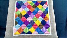 """Finished Needlepoint Geometric Design 11 3/4""""  x 11 1/4"""""""