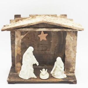 Vintage Porcelain Nativity Set in Homemade Wood Manger Christmas Creche