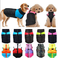 Waterproof Pet Dog Zipper Vest Harness Puppy Clothes Padded Coat Apparel Warm