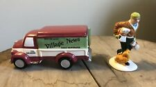 Vintage Dept 56 Snow Village Breaver And Co. Village News Delivery Truck And Boy