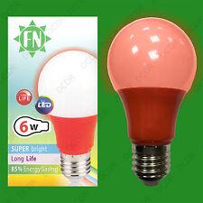 6x 6W LED Red Coloured GLS A60 Light Bulb Lamp ES E27, Low Energy 110 - 265V