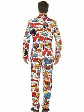 Smiffys Adult Men's Comic Strip Suit Jacket Trousers and Tie Stand out Suits