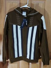 Hot Topic Mens Aguilar Assassins Creed Hoodie Brown and White. Size Small
