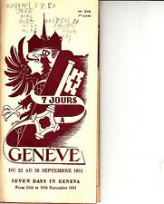 Seven Days in Geneva Switzerland September 22-28 1951 Vintage Booklet Burlesque
