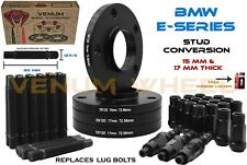 4 PC BMW 15MM & 17MM BLACK WHEEL SPACER STAGGERED KIT + STUD CONVERSION M12X1.5