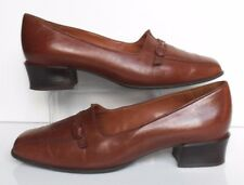 Van Dal Rothesay UK 5,5 (38,5) Cognac Tan Brown Leather low mid block heel court