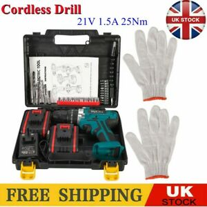 21V Cordless Hammer Drill Set Electric Impact Driver Screwdriver With 2 Battery