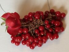 Vintage beads Red round 1 loop setting approx 8mm on a wire CRAFT Post Free