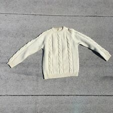 Vintage 1940s / 1950s Cream Wool Cable Knit Sweater with Zip Closure