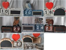 Perpetual Calendar Never Ending Wooden Block Desk Pen Tidy Memo Chalk Board 2021