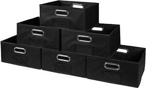 Niche Cubo Half-Size Foldable Fabric Storage Bins (Set of 3), Black